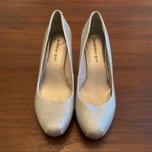 "Madden Girl ""Getta"" Silver Glitter Platform Heels"